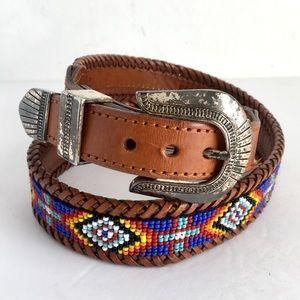 Vintage Beaded Distressed Leather Belt Buckle